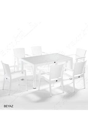 Novussi Liverno Rattan 6 Sandalyeli Camlı Dikdörtgen Masa Takımı