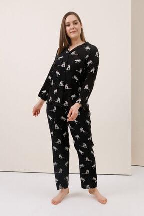 Gusto Uyku Bantlı Pijama Takım - Siyah