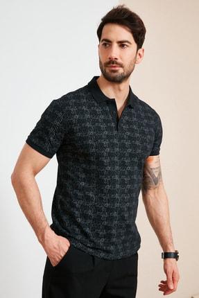 Buratti Erkek Siyah Pamuklu Desenli Polo Yaka T Shirt 5968002