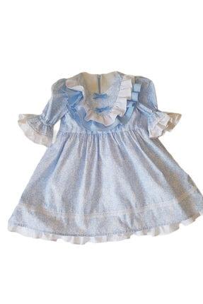 monetatr Kız Çocuk Pamuklu Mavi Beyaz Çiçekli Kol Detaylı Fırfırlı 3-4 Yaş Elbise