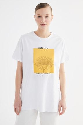 Trendyol Modest Beyaz Baskılı Örme T-Shirt-Tunik TCTSS21TN0273