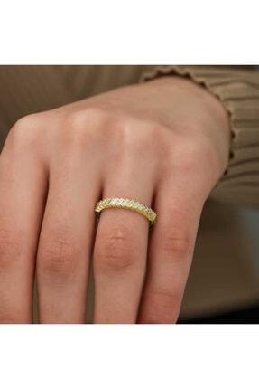 Gumush ??Kadın Sarı Gümüş Gold Sıralı Baget Taşlı Yüzük