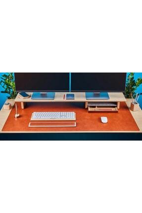 Woll Tasarım Ithal Vegan Deri Kaymaz Mantar Zeminli Çalışma Masası Düzenleme Ve Mouse Pedi 40x120 Kahverengi
