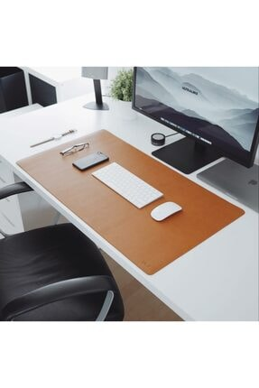 Woll Tasarım Ithal Vegan Deri Kaymaz Mantar Zeminli Çalışma Masası Düzenleme Ve Mouse Pedi 40x85 Kahverengi