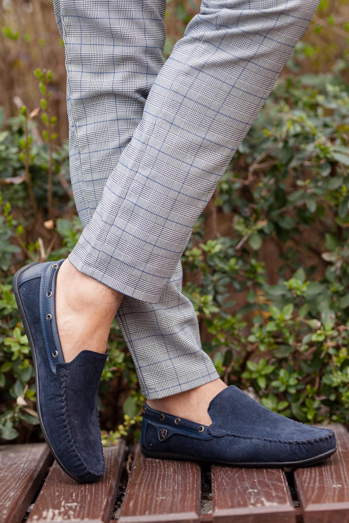 MUGGO Lacivert Süet Günlük Ayakkabı M3473 Hediye 2