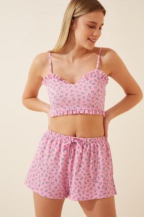 Happiness İst. Kadın Pembe Çiçekli Askılı Şortlu Pijama Takımı LP00037