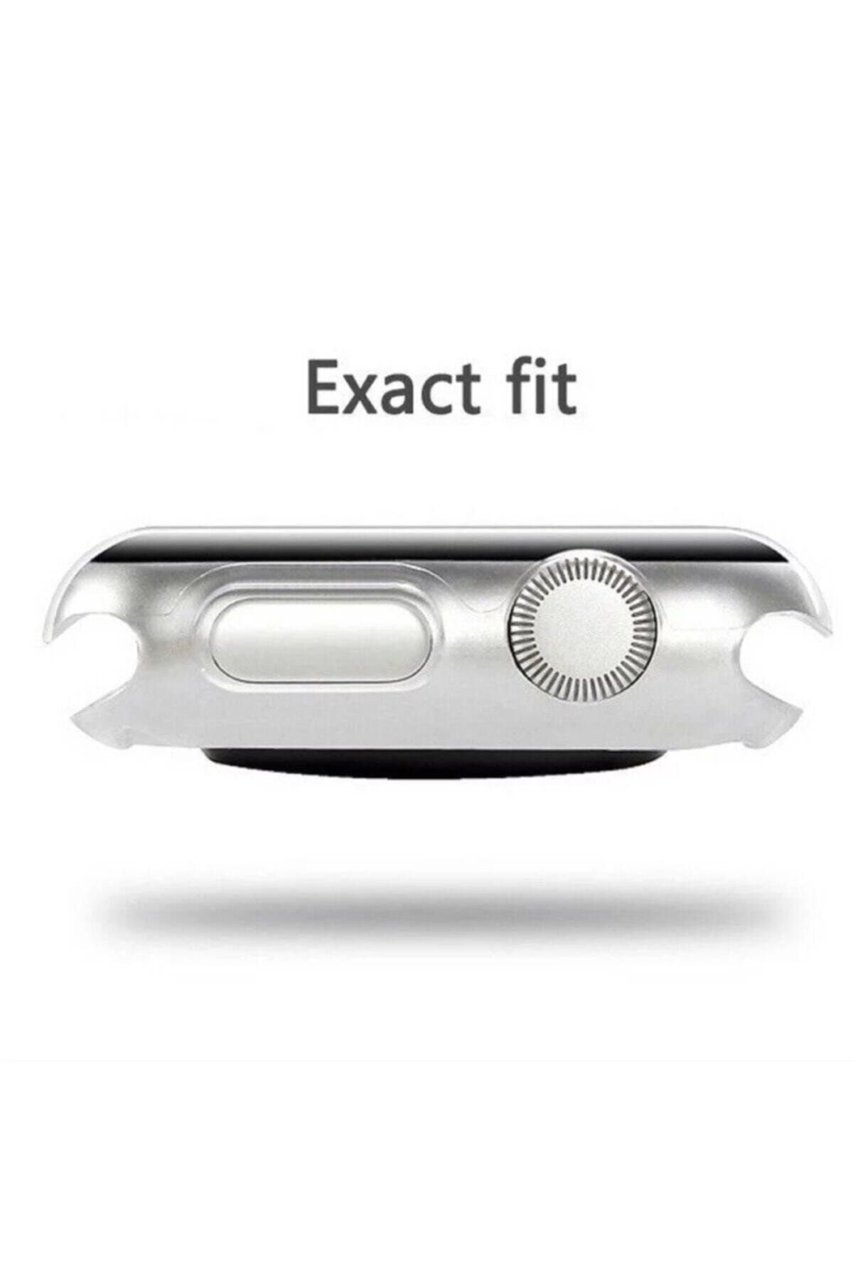 ucuzmi Apple Watch 1 2 3 4 5 6 Se Serisi ( 44mm ) 360 Tam Koruma Şeffaf Silikon Kılıf Premium Model 2