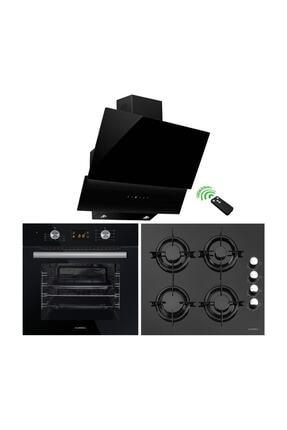 Luxell DDT Siyah Cam 8 Program Dokunmatik Ankastre Üçlü Set