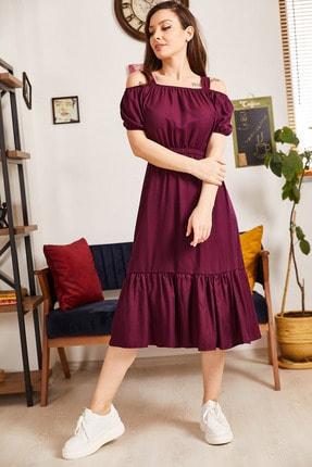 armonika Kadın Mürdüm Beli Lastikli Askılı Elbise ARM-21K001214
