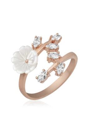 Gumush ?gümüş Beyaz Bahar Çiçeği Yüzük