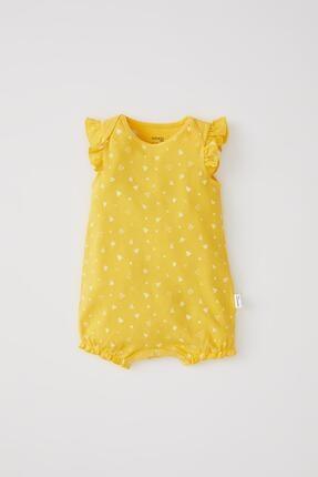 DeFacto Kız Bebek Sarı Puantiye Desenli Kolsuz Çıtçıtlı Tulum
