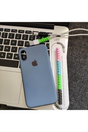 Mislina Iphone X Veya Xs Uyumlu Logolu Lansman Kılıf + Kablo Koruyucu