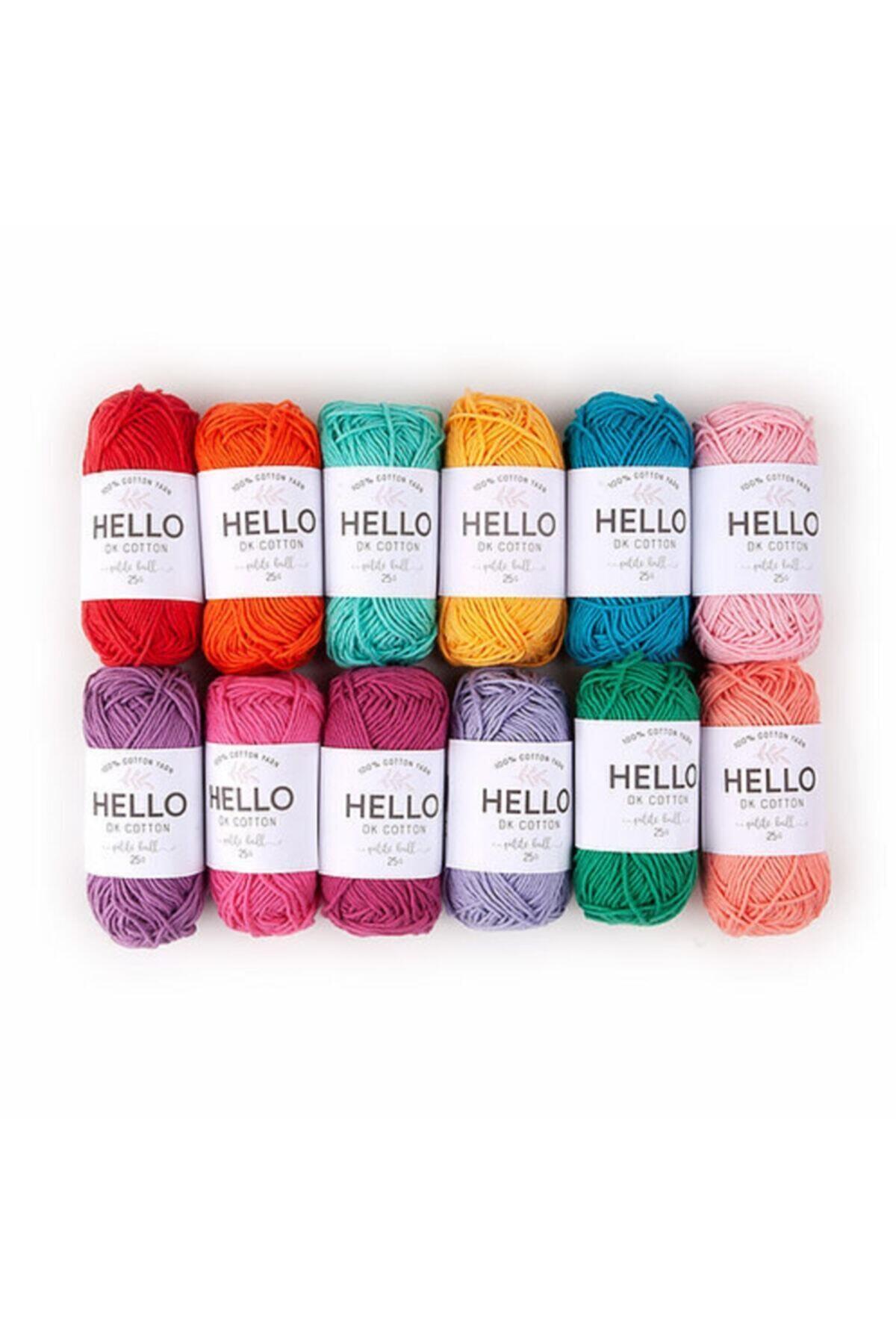 HELLO Punch Ve Amigurumi Iplik Seti Minik Yumaklar 25g X 12 Adet Canlı Renkler 1