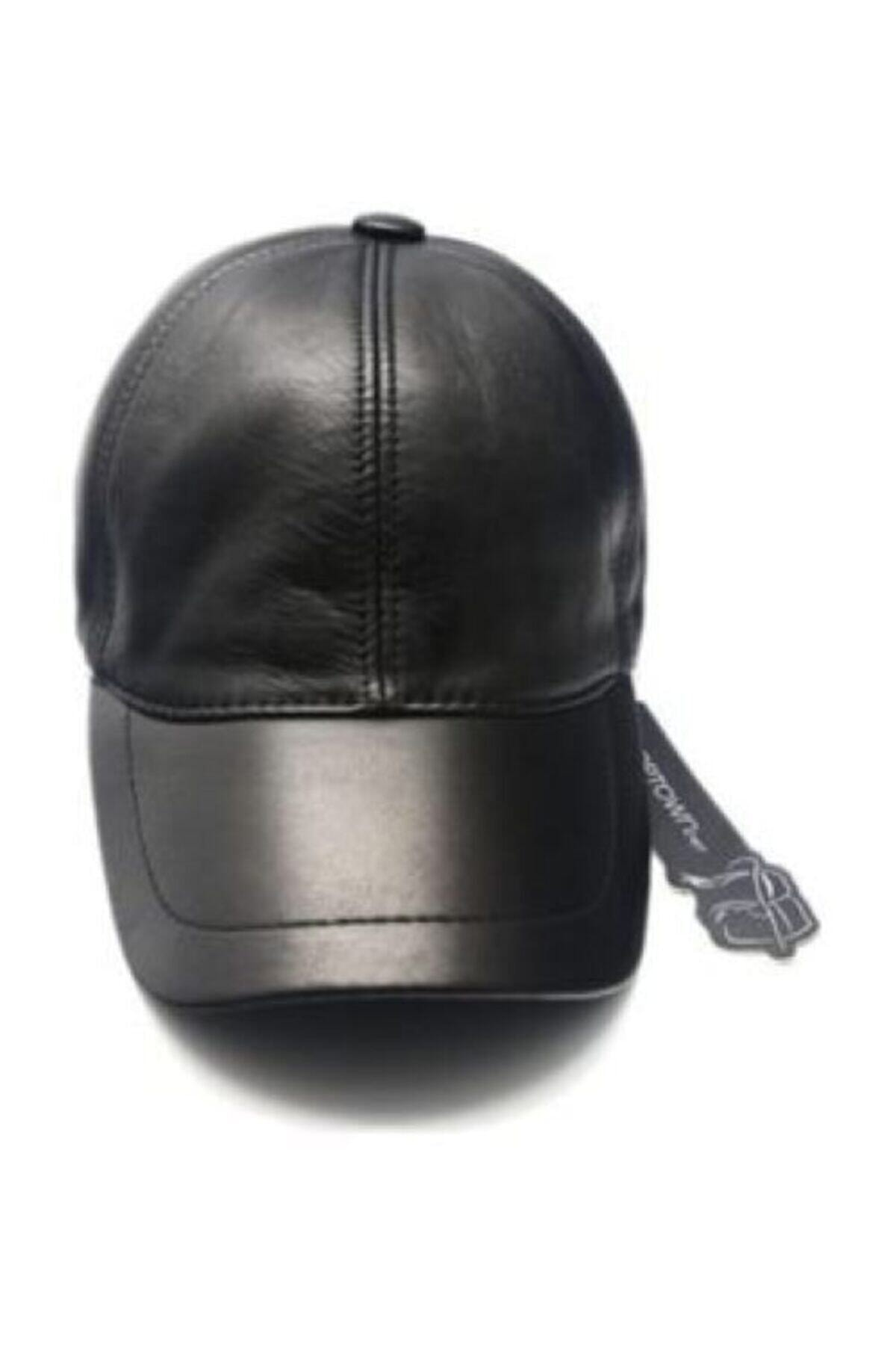 ROTAMZİRVE Unisex Siyah Hakiki Deri Kep Şapka 0004 1