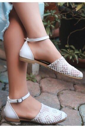 ESPARDİLE Kadın Beyaz Örgülü Sandalet