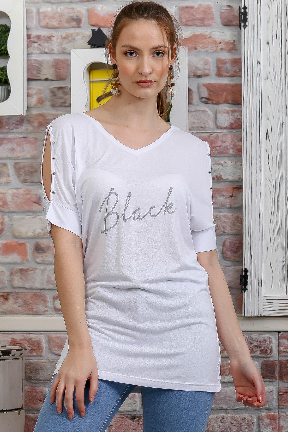 Chiccy Kadın Beyaz Ön Arka V Yaka Omuz Pencereli Baskılı T-Shirt M10010300TS98278