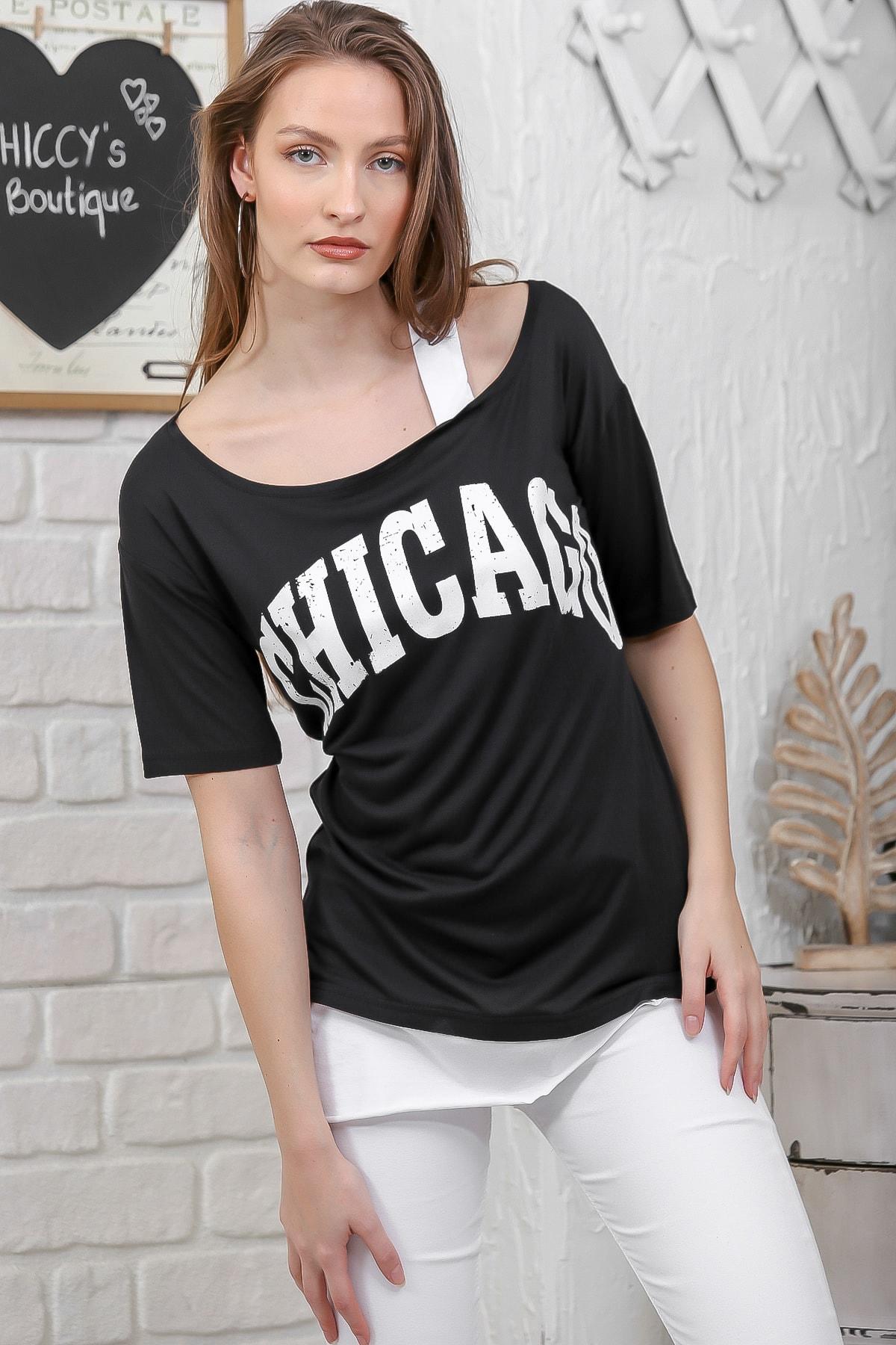 Chiccy Kadın Siyah Chıcago Baskılı Tek Omuz Askılı Etek Ucu Bloklu T-Shirt M10010300TS98274