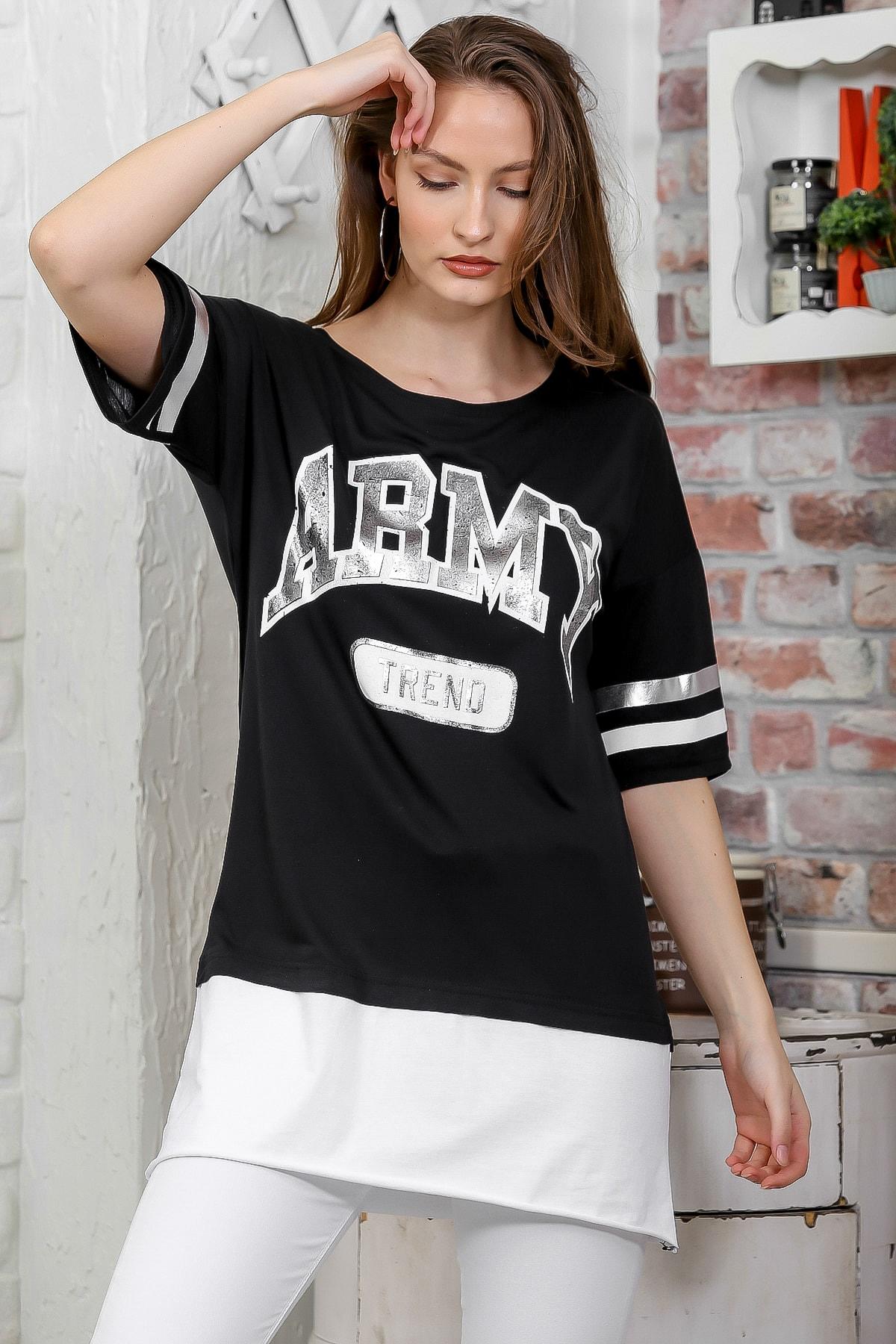 Chiccy Kadın Siyah Army Baskılı Etek Ucu Bloklu Salaş T-Shirt M10010300TS98264