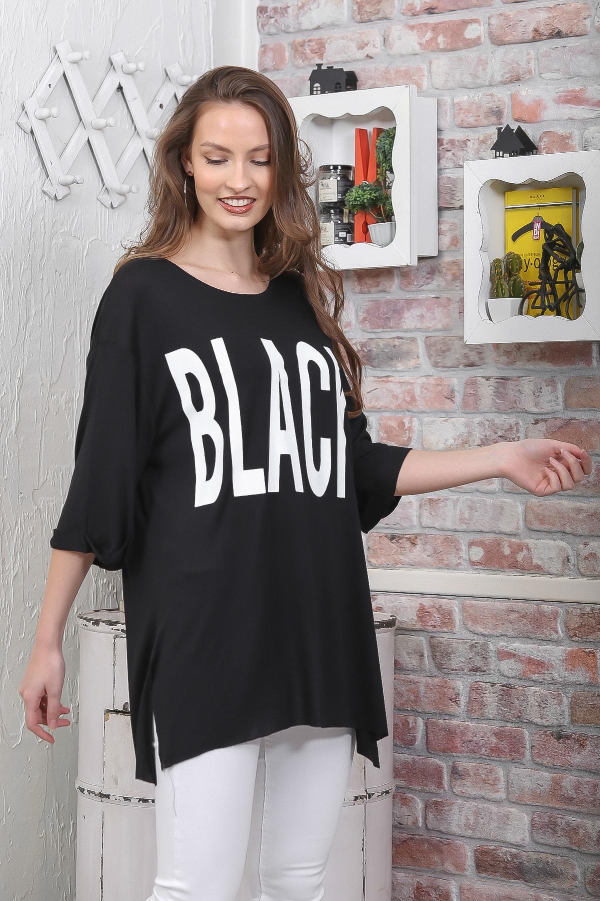 Chiccy Kadın Siyah Sıfır Yaka Black Baskılı Salaş T-Shirt M10010300TS98288