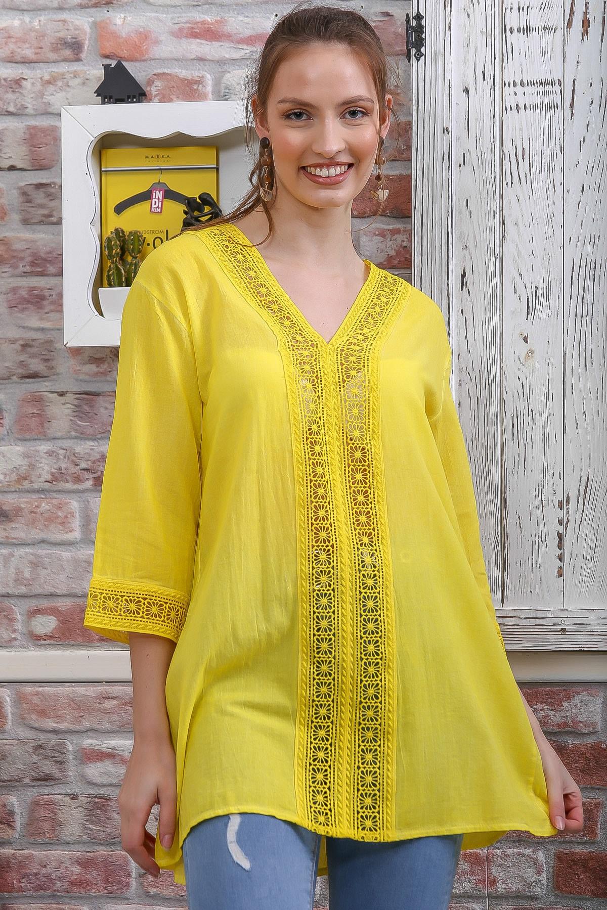 Chiccy Kadın Sarı Dantel Şerit Detaylı 3/4 Kol Dokuma Bluz M10010200BL95437