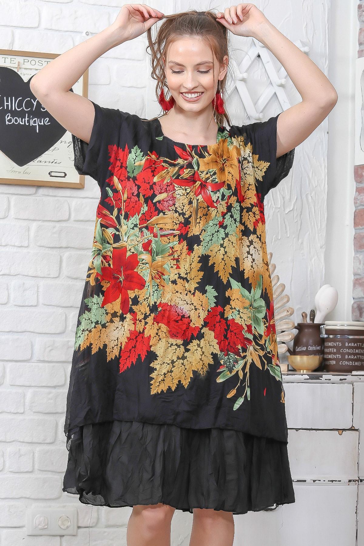 Chiccy Kadın Siyah Düşük Kol Yaprak Desenli İki Katlı Salaş Tülbent Elbise M10160000EL95086