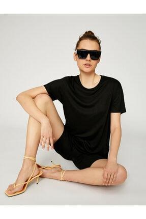 Koton Kadın Siyah Bisiklet Yaka T-Shirt