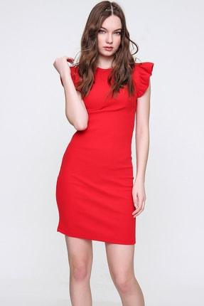 Trend Alaçatı Stili Kadın Kırmızı Kolları Fırfır Detaylı Fitilli Örme Elbise ALC-X6287