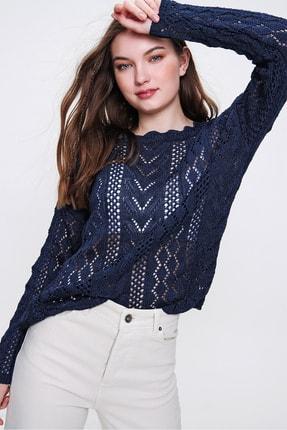 Trend Alaçatı Stili Kadın Lacivert Ajurlu Mevsimlik Merserize Triko Bluz ALC-X6326