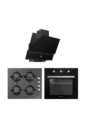 Luxell Kristal Serisi Siyah Cam Üçlü Ankastre Set