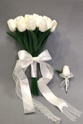 Hayalperest boncuk Islak Beyaz Laleli Gelin Buketi Ve Yaka Çiçeği