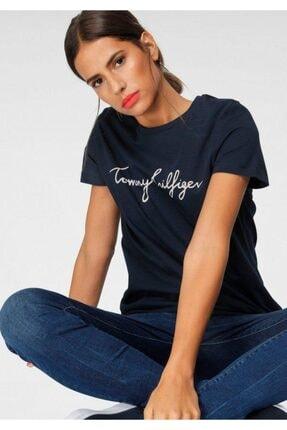 Tommy Hilfiger Kadın Lacivert Signature Print Logo Women T-shirt