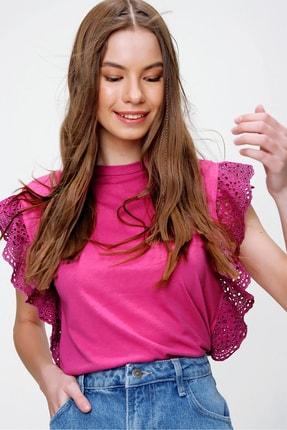 Trend Alaçatı Stili Kadın Fuşya Güpür Kollu Vatkalı Bluz ALC-X5939