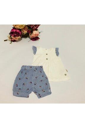 Flexi Kız Bebek Mavi Beyaz Fırfırlı Ikili Takım