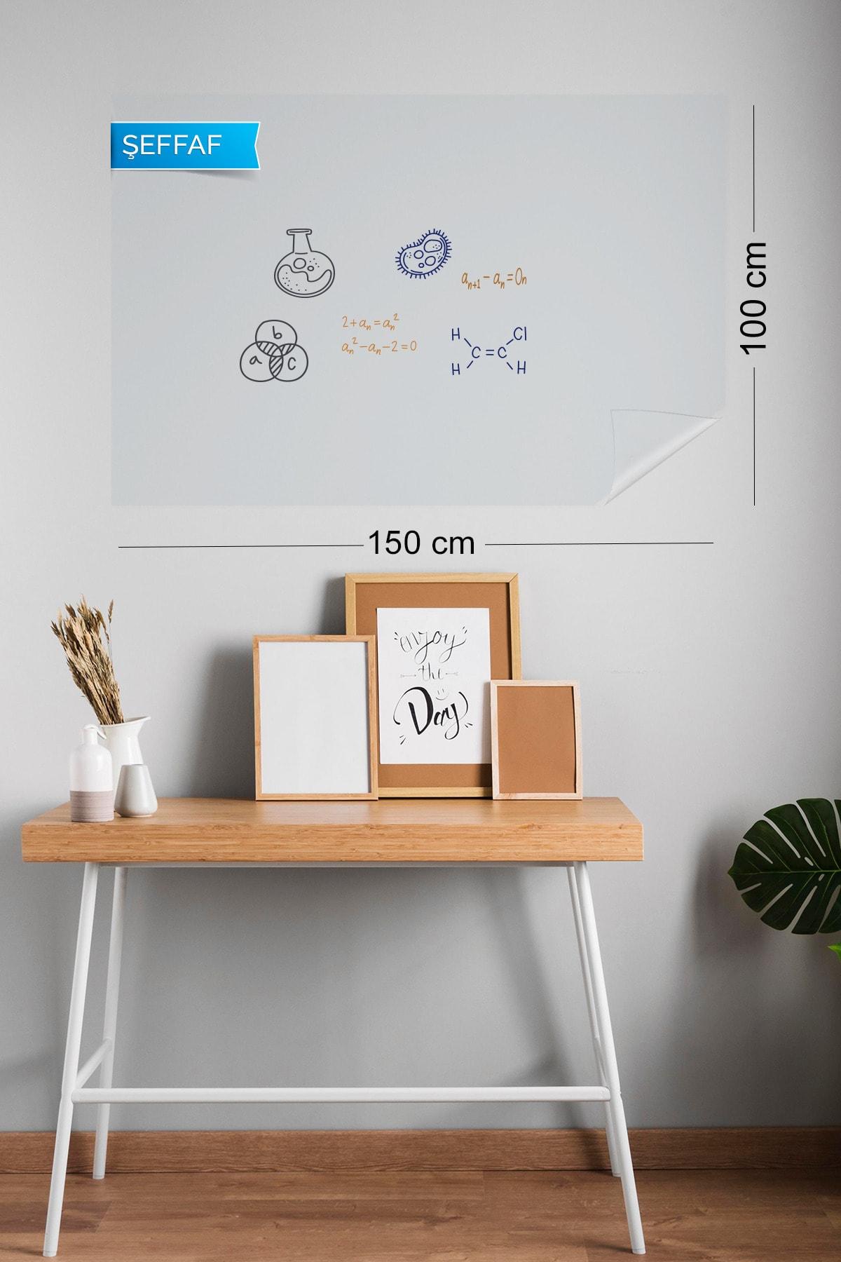 Evbuya 100x150 cm Şeffaf Yapışkansız Statik Tutunabilir Akıllı Kağıt Tahta 2 Adet 1