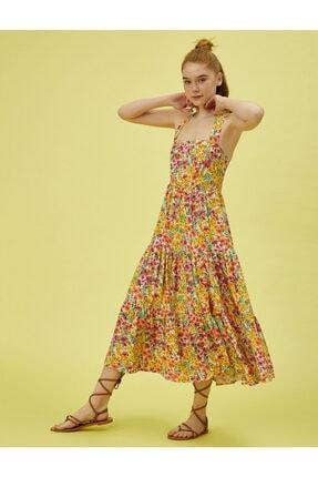 Koton Kadın Sarı Çiçekli Askili Midi Elbise