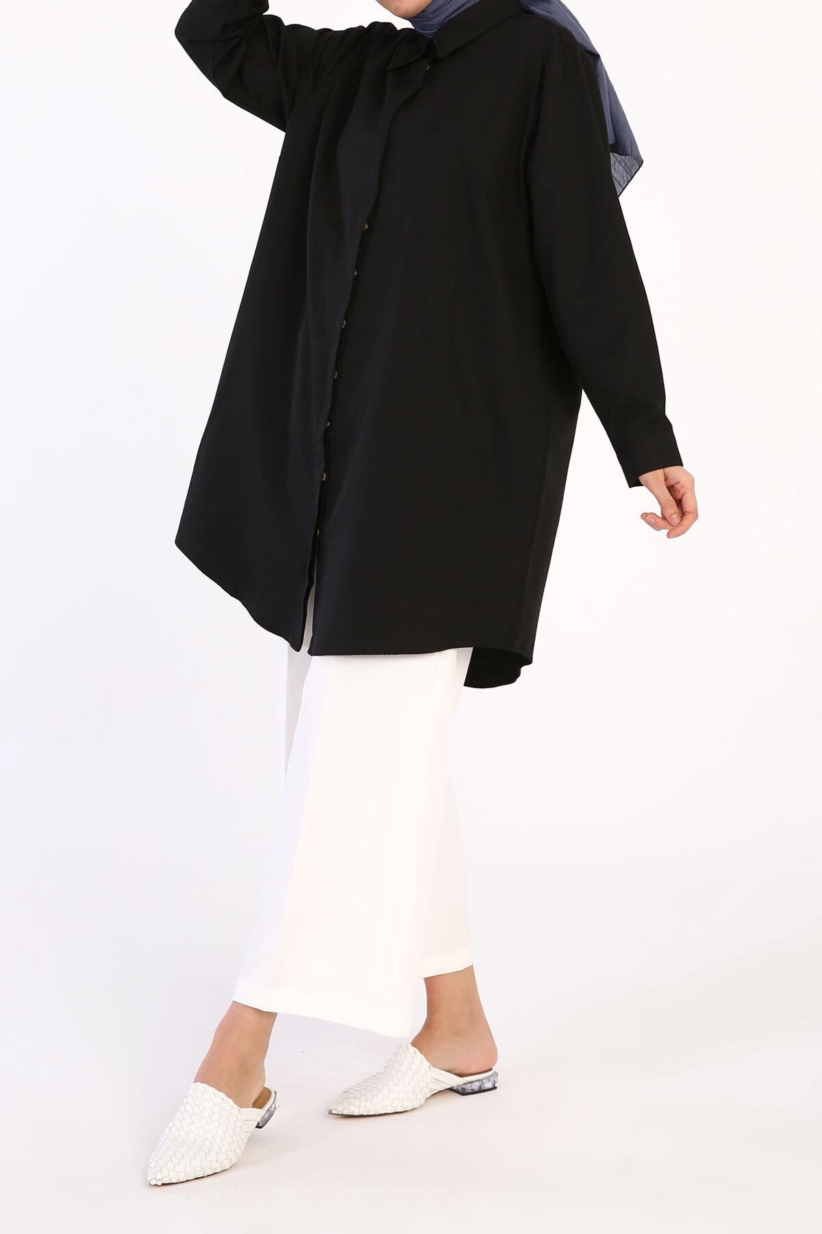ALLDAY Siyah Büyük Beden Basic Gömlek Tunik 1