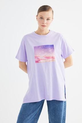 Trendyol Modest Lila Baskılı Örme Tunik T-shirt  TCTSS21TN0272