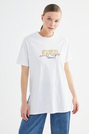 Trendyol Modest Beyaz Baskılı Örme Tunik T-shirt TCTSS21TN0276