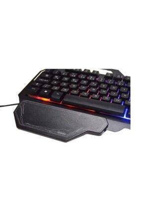 TURBOX Usb Kablolu Gaming Standart Q Işıklı Metal Kasa Bilek Padli Klavye Tr-gk101