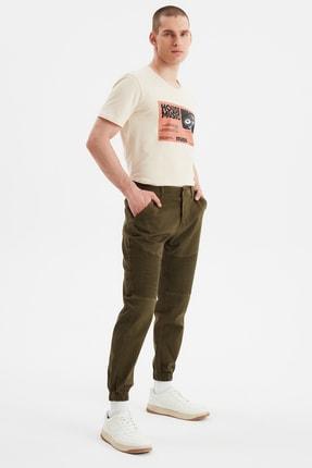 TRENDYOL MAN Haki Erkek Nervürlü Slim Fit Jogger Pantolon TMNSS20PL0119