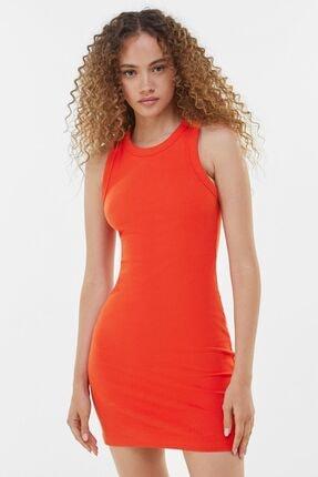 Bershka Kadın Kırmızı Fitilli Mini Elbise