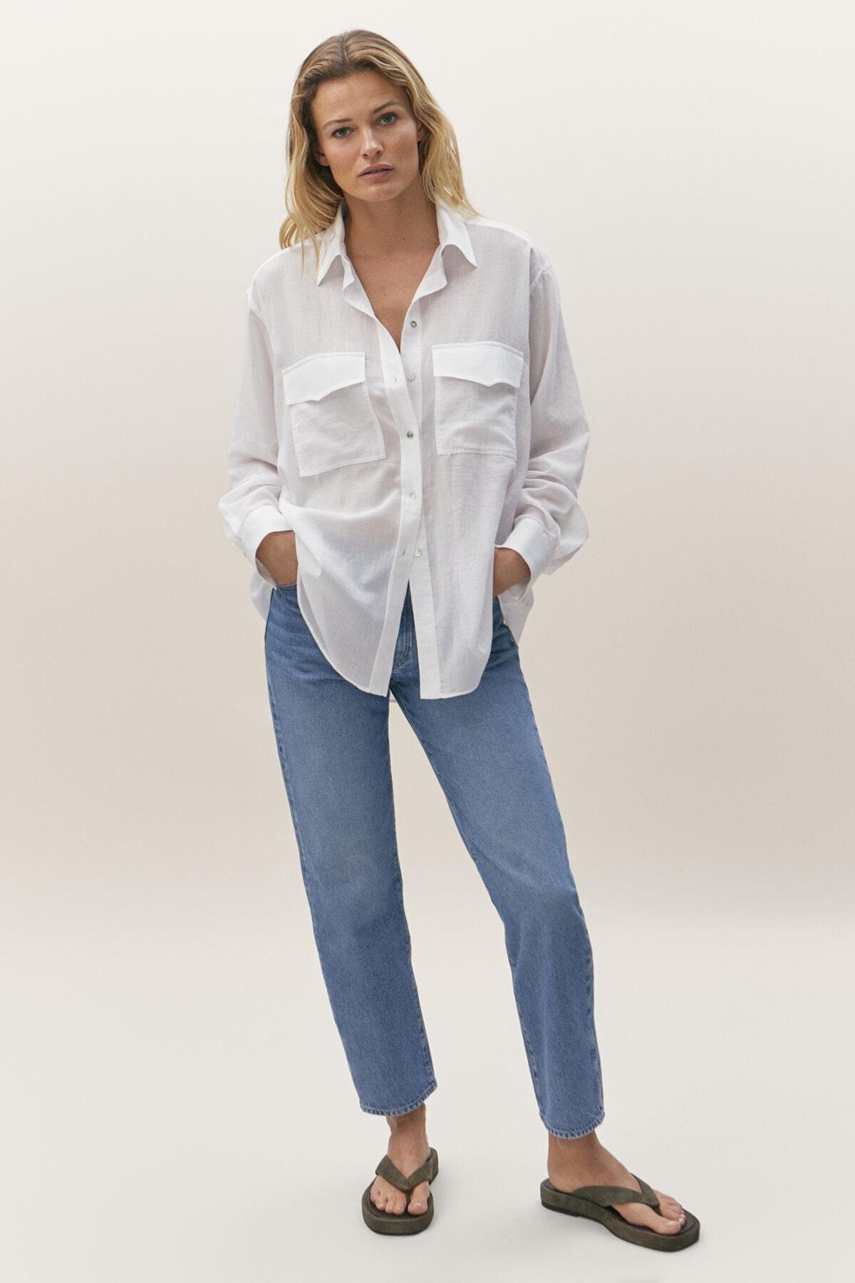 Massimo Dutti Kadın Straight Fit Yüksek Bel Jean 05054528