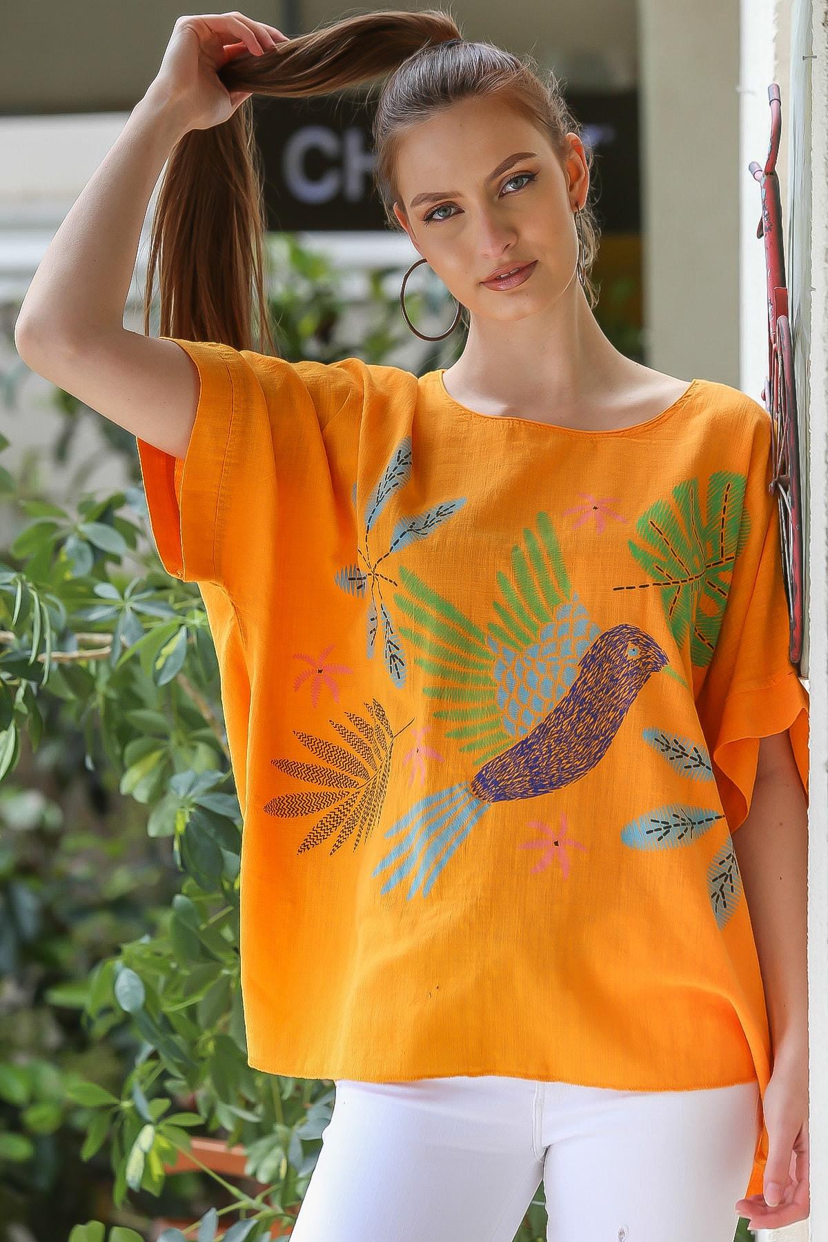 Chiccy Kadın Turuncu  Sıfır Yaka Yalı Çapkını Kuş Desenli Salaş Dokuma Bluz M10010200BL95418
