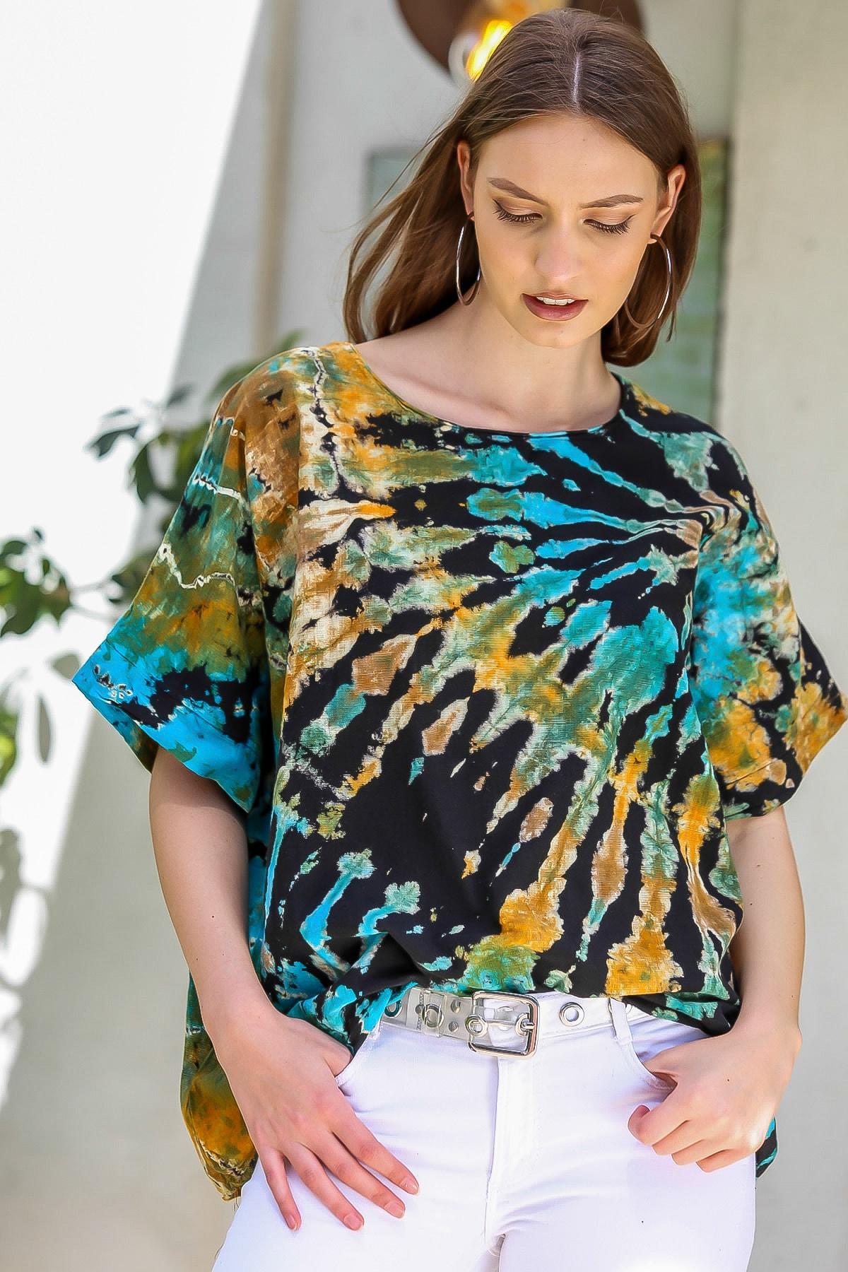 Chiccy Kadın Siyah-Mavi Sıfır Yaka Batik Desenli Dokuma Salaş Bluz M10010200BL95416
