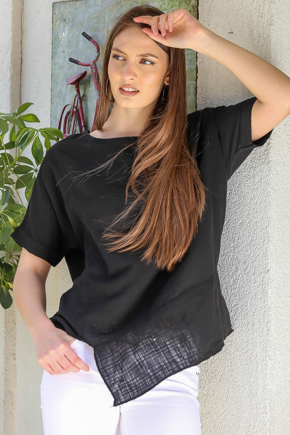Chiccy Kadın Siyah Sıfır Yaka Etek Ucu Asimetrik Salaş Dokuma Bluz M10010200BL95409