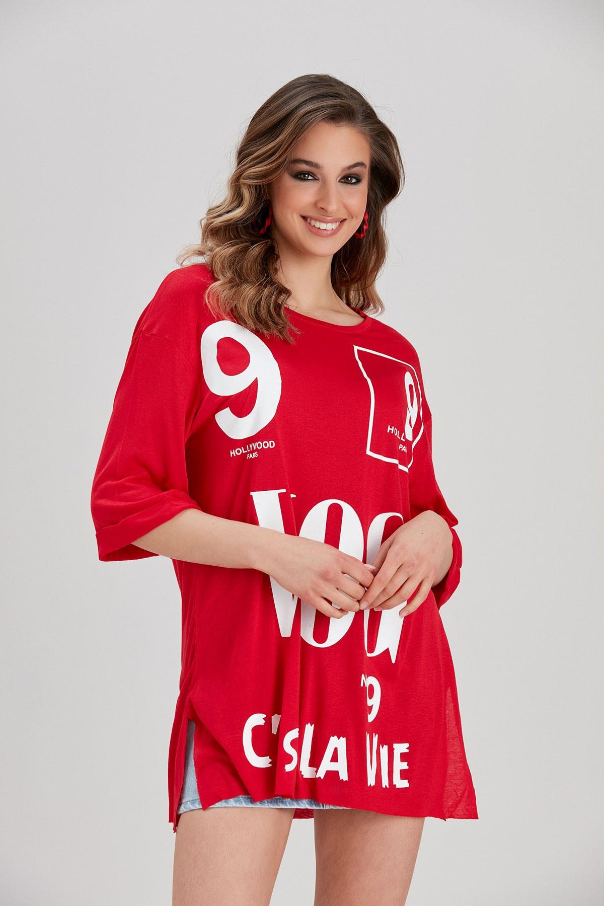 Y-London Kadın Kırmızı Yazı Baskılı T-Shirt YL-TS99780