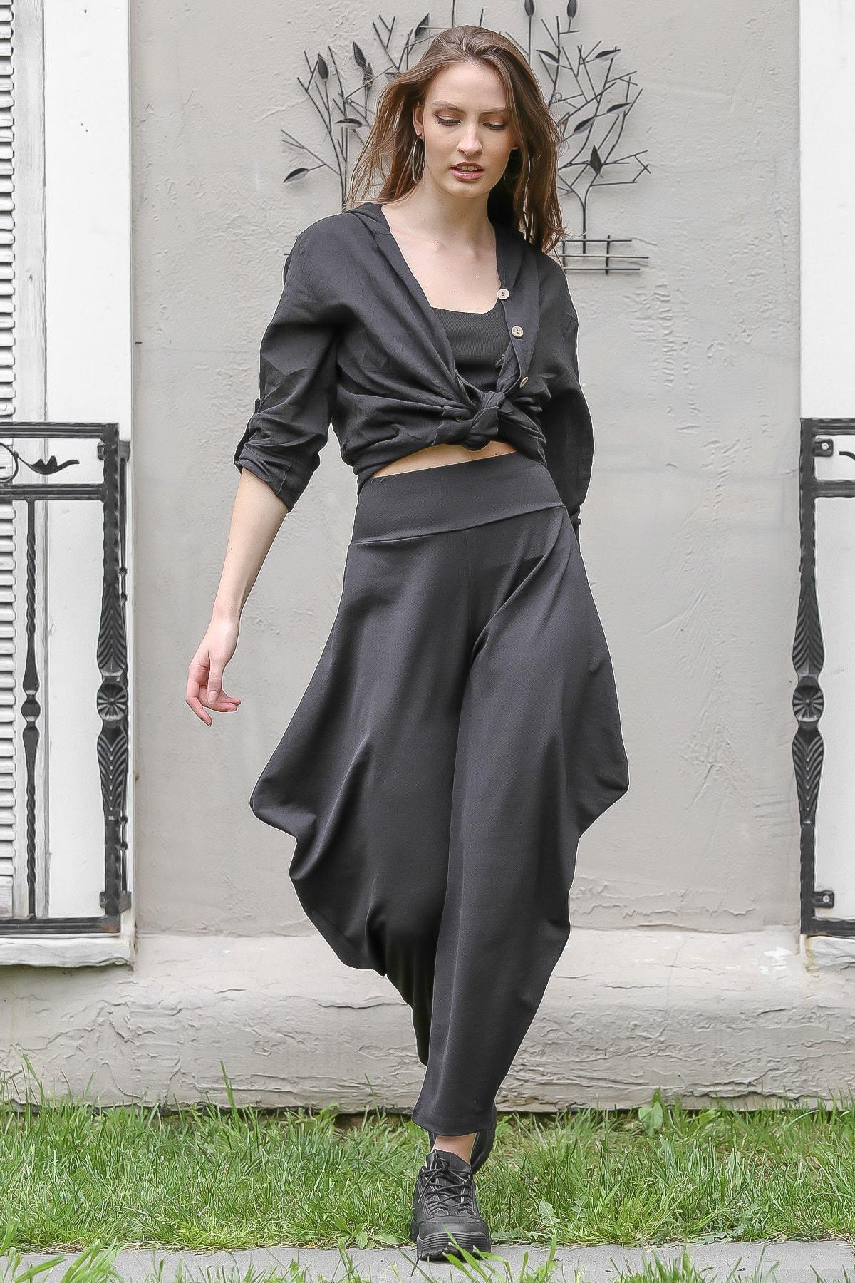 Chiccy Kadın Siyah  Yanları Kulaklı Şalvar Pantolon M10060000PN98850