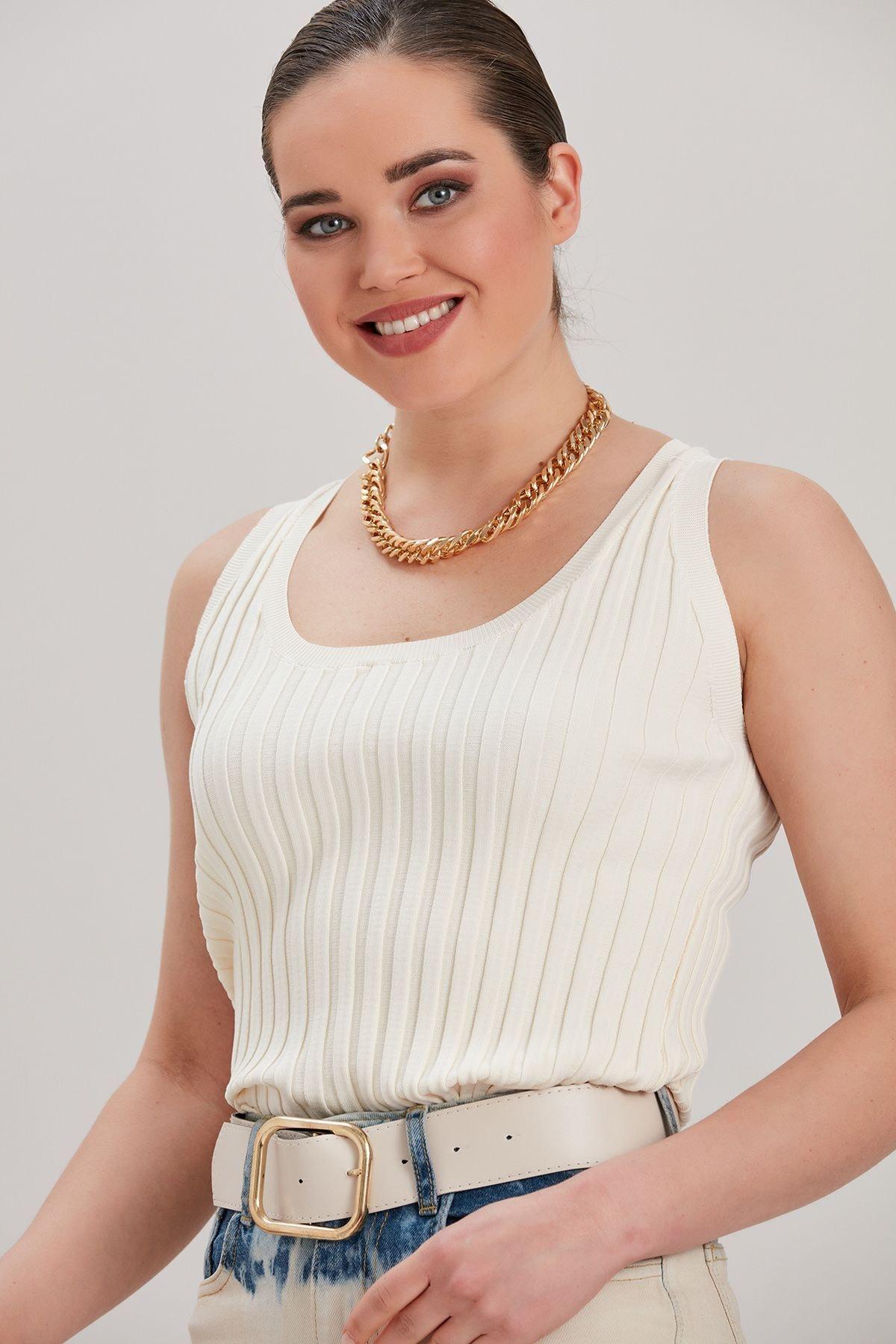 Y-London Kadın Ekru Triko Bluz YL-BL99833