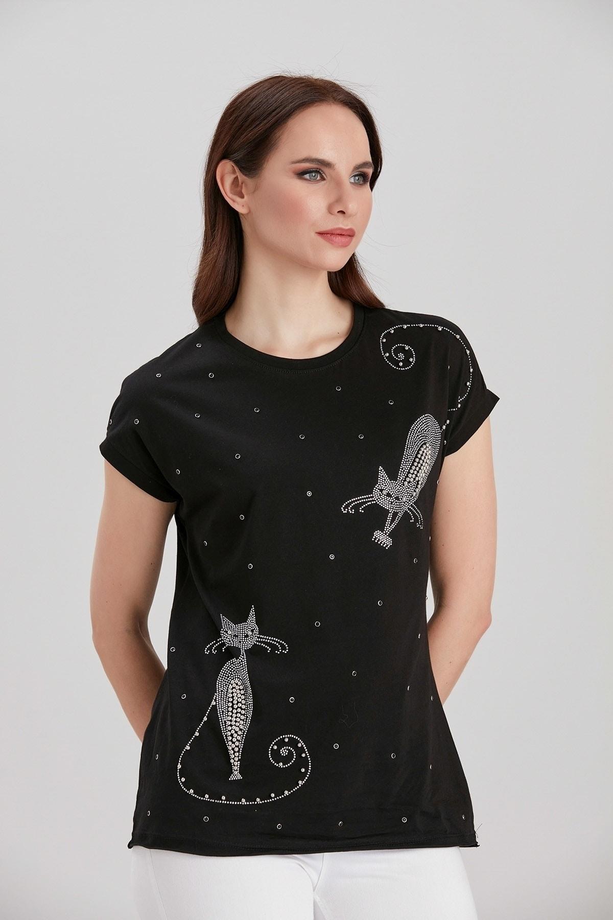 Y-London Kadın Siyah Taş İşlemeli Kedi Desenli T-Shirt YL-TS99732