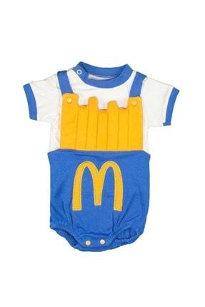 Babyboy Kız Erkek Bebek Badi Patates Cips Görselli - Mavi - 3-6 Aylık